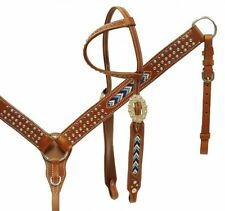 WESTERN HORSE BEADED LEATHER TACK SET BRIDLE HEADSTALL W / REINS & BREAST COLLAR