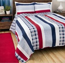 Nautical Quilt Bedding Set Queen Comforter Stripes Red White Blue Bed Cover