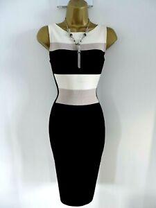 Karen Millen 3 Size 12 14 COLOURBLOCK STRETCH STRIPE BODYCON KNIT DRESS