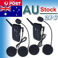 2x Bluetooth Motorbike Intercom Helmet Headsets 1200M BT 6 Riders V6 Interphone