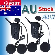 2x Bluetooth Motorbike Intercom Helmet Headsets 1200M BT 6 Riders V6 Interphone