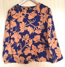 M&s Damen Bluse Top 10 Smart Arbeit Sommer orange marine Karriere Floral Boxy (VK)