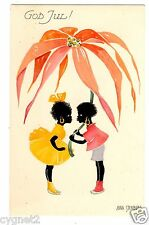 POSTCARD SWEDISH CHRISTMAS BLACK CHILDREN UNDER FLOWER AINA STENBERG