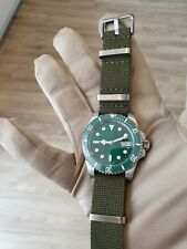 Mens Submariner Homage Watch Green Hulk Automatic STERILE DIAL green nato Pagani