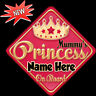 Personalised Mummy's Princess Red/gold Baby/ child on Board Car Window Sign