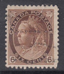 "Canada Scott #80  6 cent brown  ""QV Numeral"""