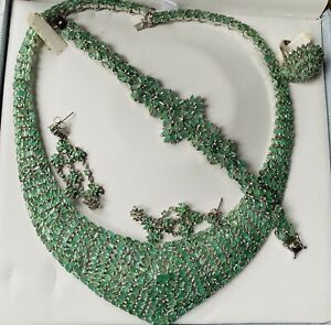 New Classy Custom Huge 100+ct Natural Emerald Gemstones Silver SS necklace 18in
