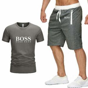 2PCS BOSS Mens T Shirt Shorts Set Logo Crew Neck Top Sweatpants Summer Tracksuit