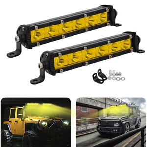 "2x 7"" Inch 18W Slim LED Light Bar Yellow Spot OFFROAD Fog Driving Truck ATV Lamp"