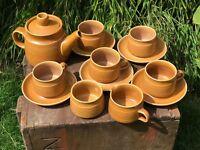 Denby Langley Canterbury 1Pt Tea Pot 5 Tea Cups Saucers Milk Jug Sugar Bowl Set