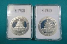 2010-11  CHINESE PANDA SILVER COINs 1 Oz. Brilliant Uncirculated in Display Case