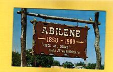 """Abilene,Kansas,KS Sign 1858-1900 """"Check all Guns""""Marshal J.B.Wild Bill Hickock"""