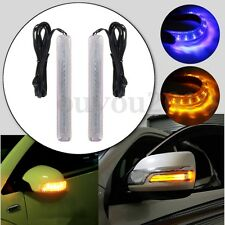 2x Universal 18 LED Car Side Mirror Turn Signal Indicator Light Yellow DRL Blue