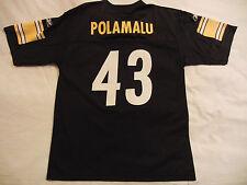 Reebok NFL Pittsburgh Steelers 43 Polamalu Black Jersey Shirt Young Men L 14-16