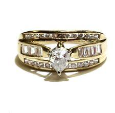 10k yellow gold 1.23ct pear diamond engagement ring 3.3g estate vintage 9.25