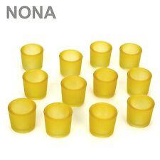 12 NONA 6cm Teelichtgläser Teelichtglas gelb schwer dick Kerzenglas Kerzengläser