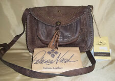 "Patricia Nash 12"" ""Vintage Beaumont"" LEATHER  brown crossbody handbag w/ tassels"