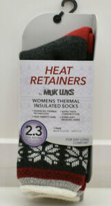 Muk Luks Womens's Thermal Insulated Socks Size 6-11 Grey Red Fair Isle New