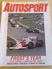 AUTOSPORT MAGAZINE DEC 1985 PROST'S YEAR SENNA SPEAKS QUIZ FERRARI TESTAROSSA