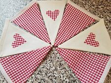 HANDMADE  BUNTING - RED GINGHAM & CREAM WITH HEARTS - XMAS ETC..