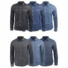 Mens Denim Shirt Firetrap Garrick Vintage Wash Long Sleeve Top S - XXL
