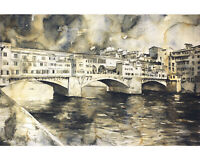 Florence Ponte Vecchio watercolor painting- fine art Florence, Italy (print)