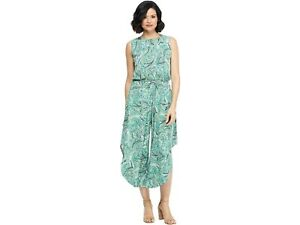 LONDON TIMES Women's Paisley Jumpsuit Soft White Green Poly-Stretch Size 10 ,12