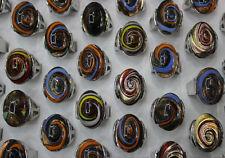 Lots 20pcs Colored glass Women's Wonderful Fashion swirl Design rings Jewelry