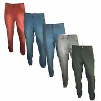 Mens Slim Fit Chino Jeans Trousers Straight Leg Casual Smart