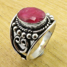 925 Silver Overlay Simulated Ruby DECO Ring Size 10.25 Jewellery Uk ONLINE STORE