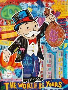 Graffiti Art Alec Monopoly Money World Is Yours Paintings On The Wall Art Canvas