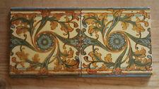 Original victorian hand painted tiles-job lot-lot de 2 c.1880 #1005