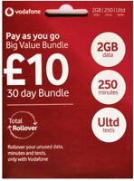 x2 SIM Vodafone UK Sim card Data m/inutes Text NEW Bundle Pay as You Go NEW SIM