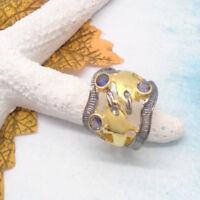 Iolith blau rund gold schwarz Delfin Ring Ø 17,25 18,25 mm 925 Sterling Silber