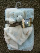 NWT Blankets & Beyond Collection Gift Set Elephant Blue Baby Blankets