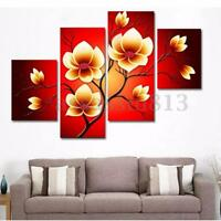 4PCS Modern Abstract Oil Painting Flowers Huge Wall Decor Art On Canvas No Frame