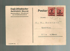 1923 Marktredwitz Germany Inflation Postcard cover 4 Million RM