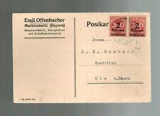 1923 Marktredwitz Germany Inflation Postcard cover 4 Million RM