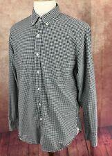 J Crew Button Down Long Sleeve 100% Cotton Black Gingham Check Shirt Men's L