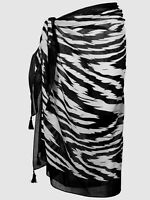 Black White Zebra Cotton Sarong Animal Cover Up One Size Beach Wrap Skirt Dress