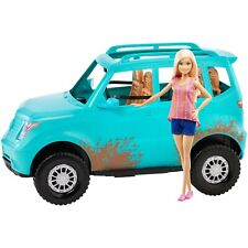 New Barbie Camping Fun Doll and Teal Off-Road Adventure Vehicle
