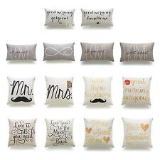 Hofdeco His and Her Love Throw Pillow Case Valentine Gift Wedding Cushion Cover