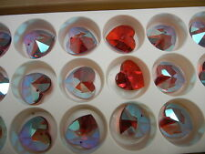 2 swarovski strass crystal heartshape shaped pendants,28mm bordeaux AB #8781