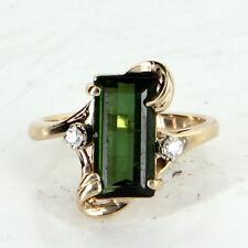Green Tourmaline Diamond Cocktail Ring Vintage 14k Yellow Gold Estate Jewelry