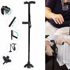 Portable LED Walking Stick All Terrain Pivoting Base Folding Cane Travel Black