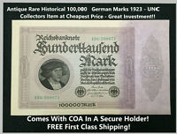 Antique Rare Historical 100,000 German Marks 1923 - UNC GEM Collectors Item