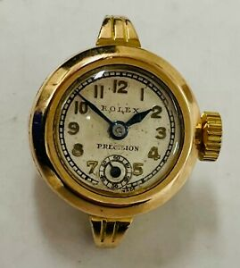 Vintage ROLEX 9K Gold Precision Ladies Wristwatch 17 Jewels 1950s