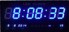 Merveilleuse Bleu LED Numérique Horloge murale avec Date Température Alarme