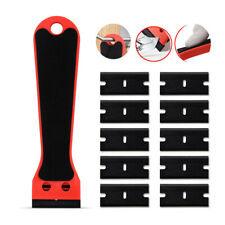 Razor Scraper, 10 Pcs Plastic Blades Foam Felt Handle Window Tint Dust Cleaning
