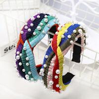 Women's Tie Headband Hairband Pearl Wide Knot Rainbow Hair Hoop Band Accessories